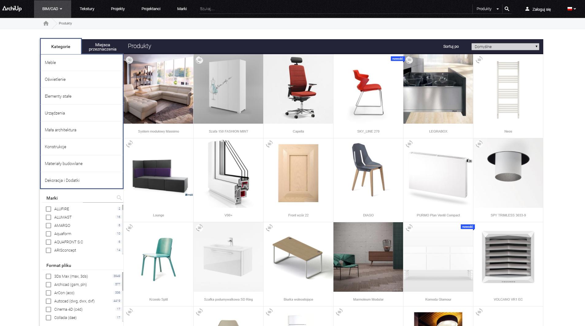 W ArchiUp znajdziesz kilkadziesiąt tysięcy obiektów BIM/CAD