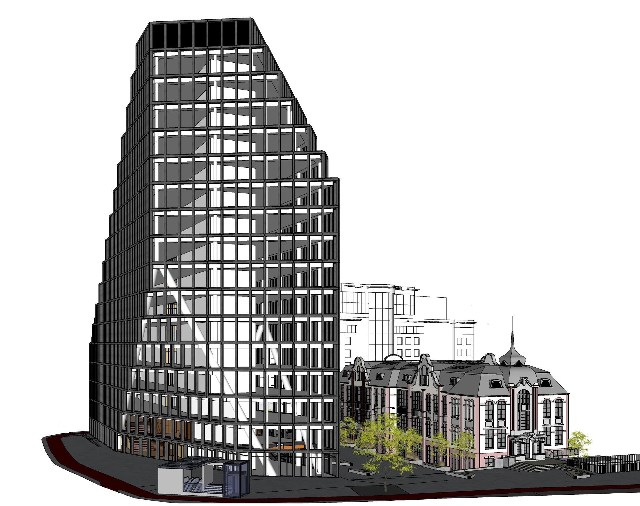 Model SketchUp biurowca Bałtyk (źródło: Natkaniec Olechnicki Architekci, MVRDV)