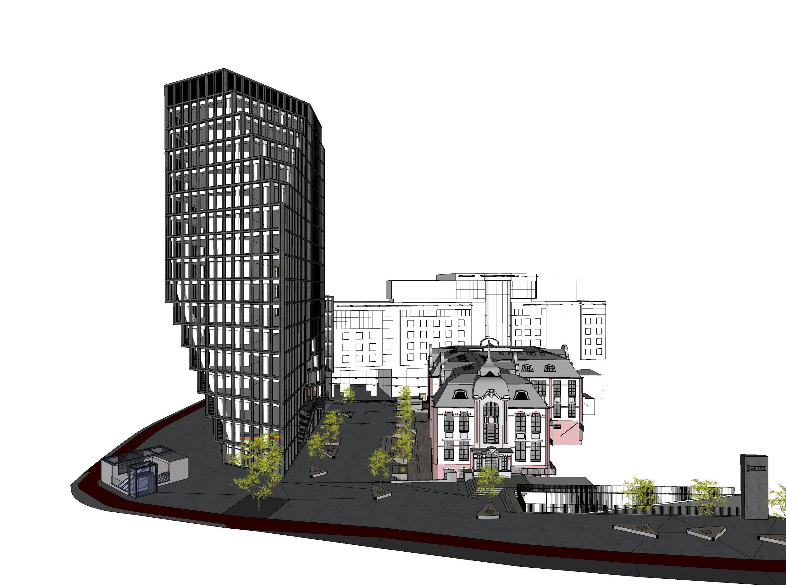 """Bałtyk z placem """"Przystań"""" oraz budynkiem Concordia Design. (źródło: Natkaniec Olechnicki Architekci, MVRDV)"""