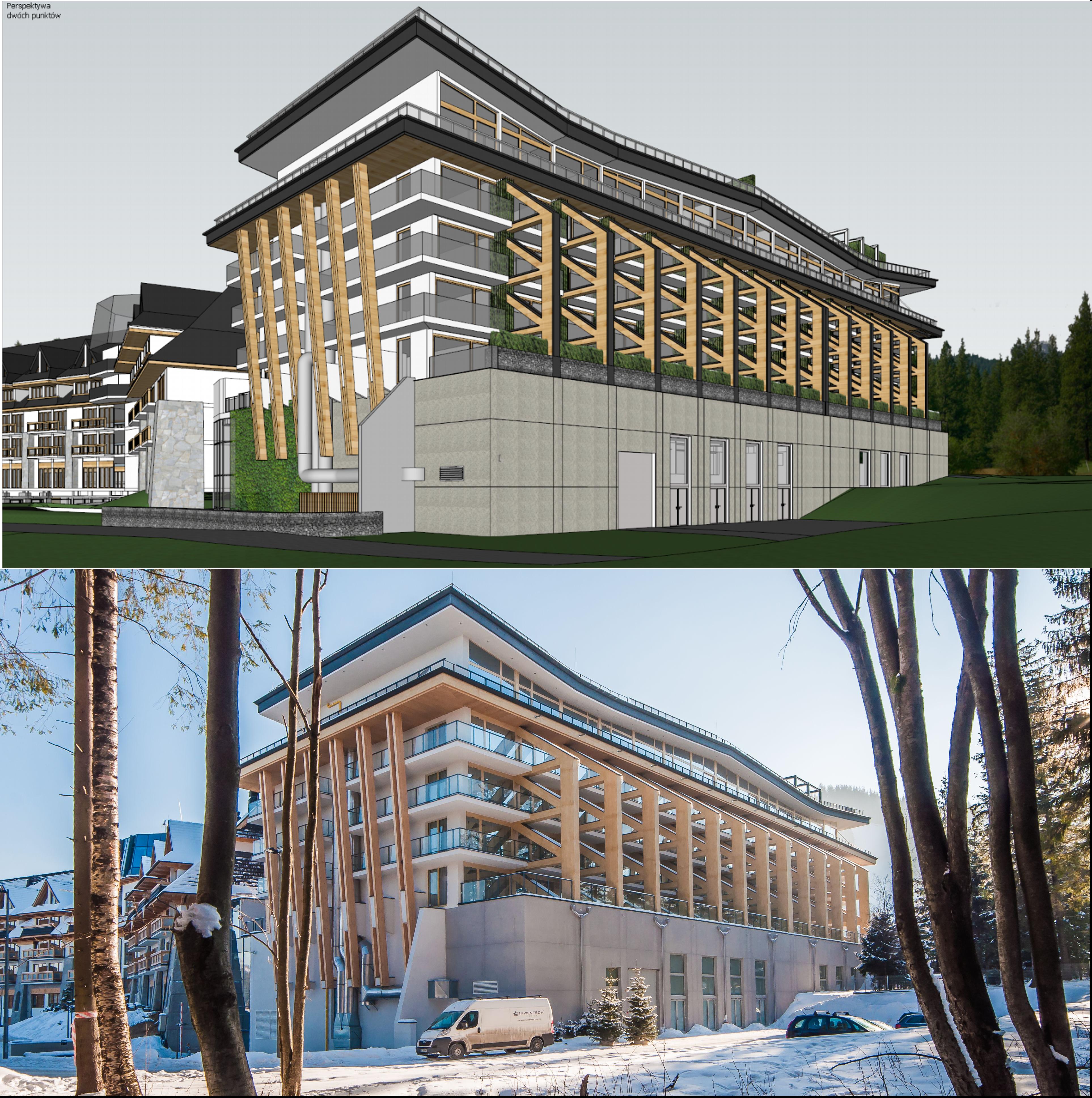 Nosalowy Dwór Resort & SPA - model SketchUp oraz rzeczywista budowla