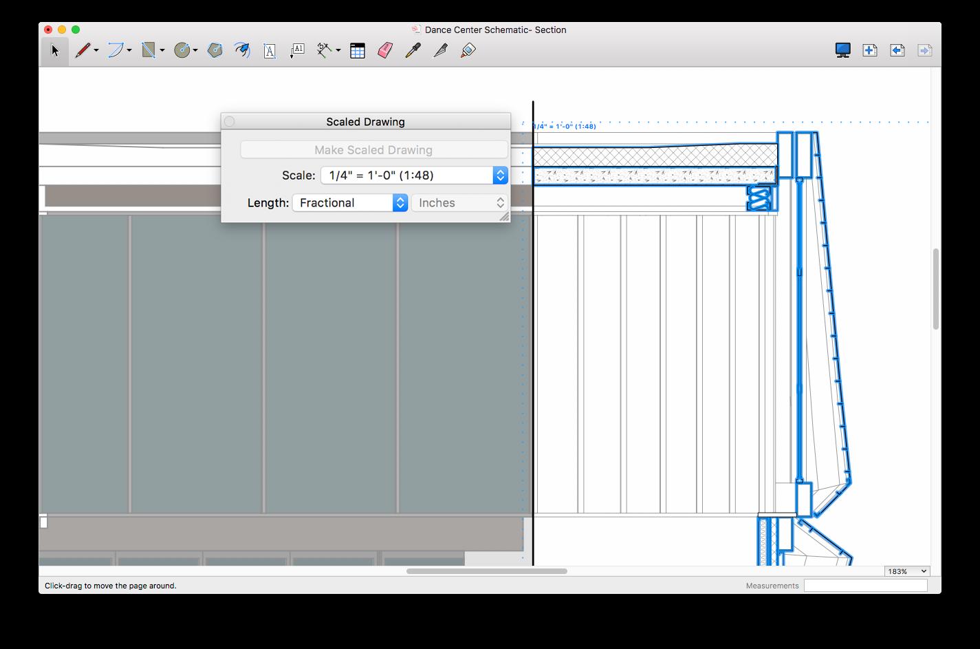 """Wykorzystując """"Rysunek w skali"""" dodaj brakujące szczegóły widoku modelu SketchUp, które można następnie wymiarować."""