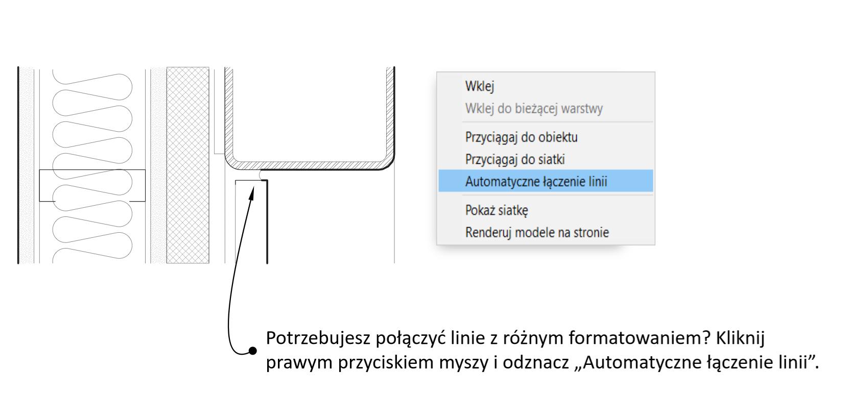 """Funkcja """"Automatyczne łączenie linii""""."""