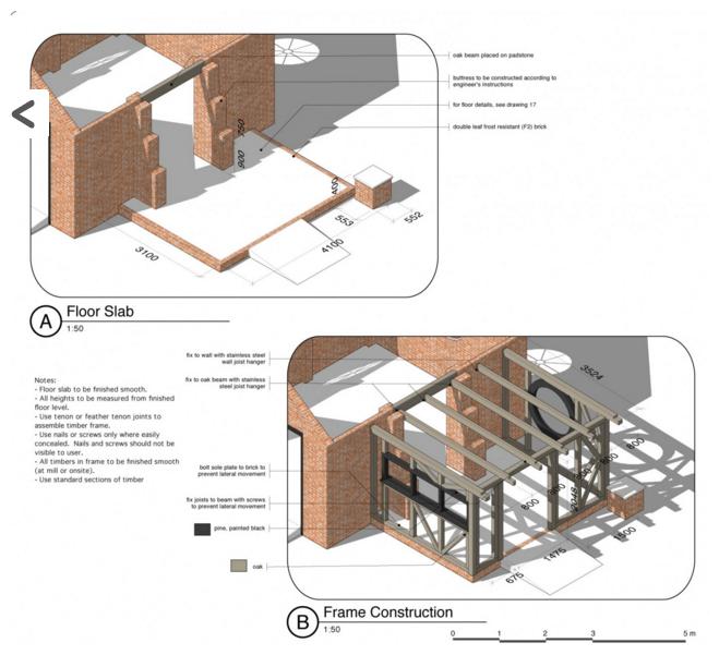Detale 3D konstrukcji ramy przedłużenia tarasu.