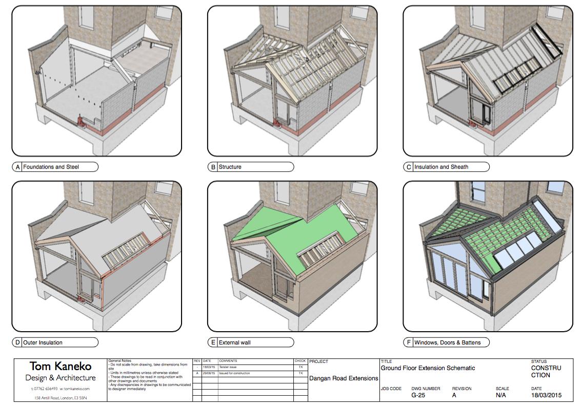 Obraz przedstawiający sekwencję budowy. Projekt Dangan Road autorstwa Toma Kaneko Design.