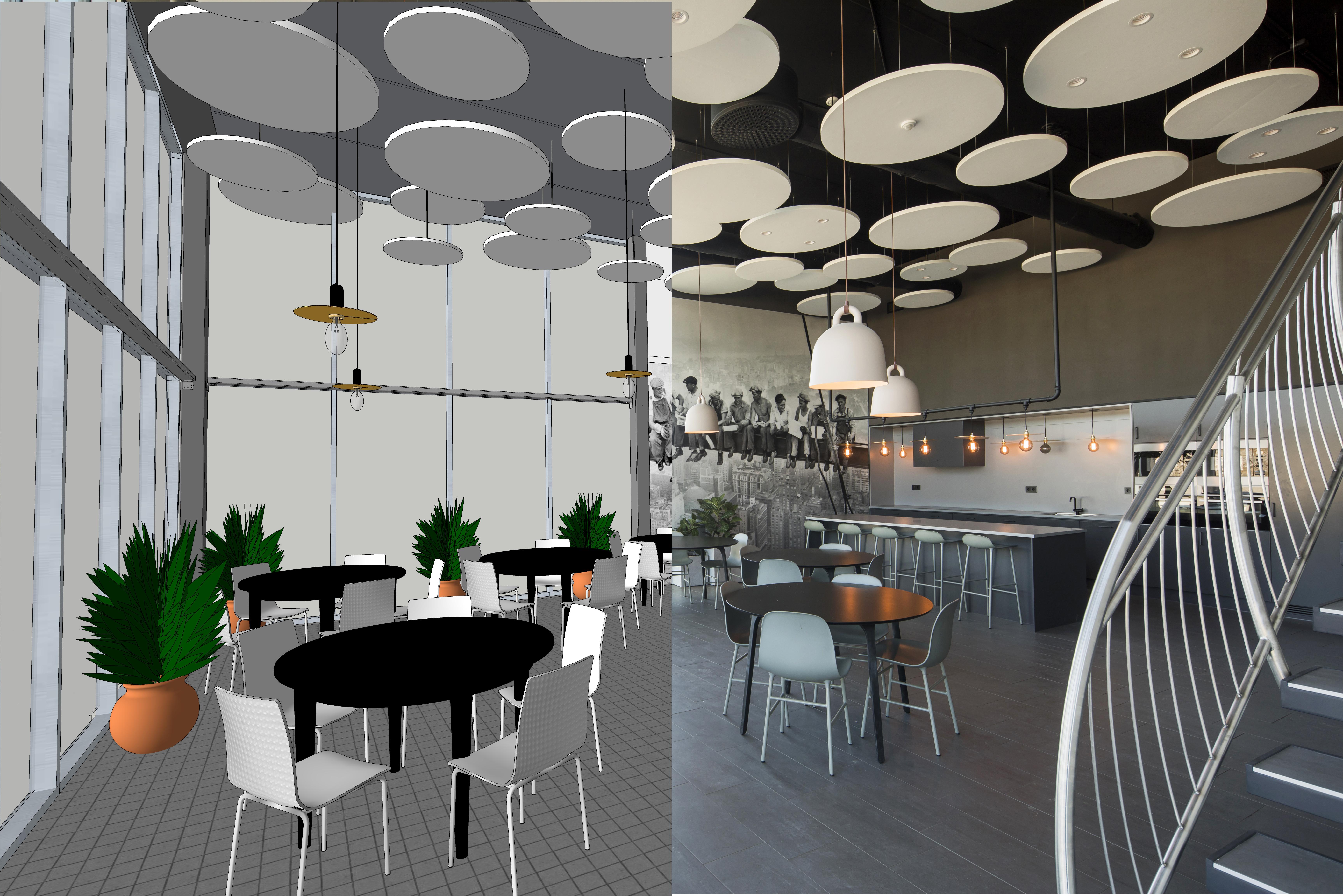 Widok na jadalnię w biurowcu Northpower Stålhallar.