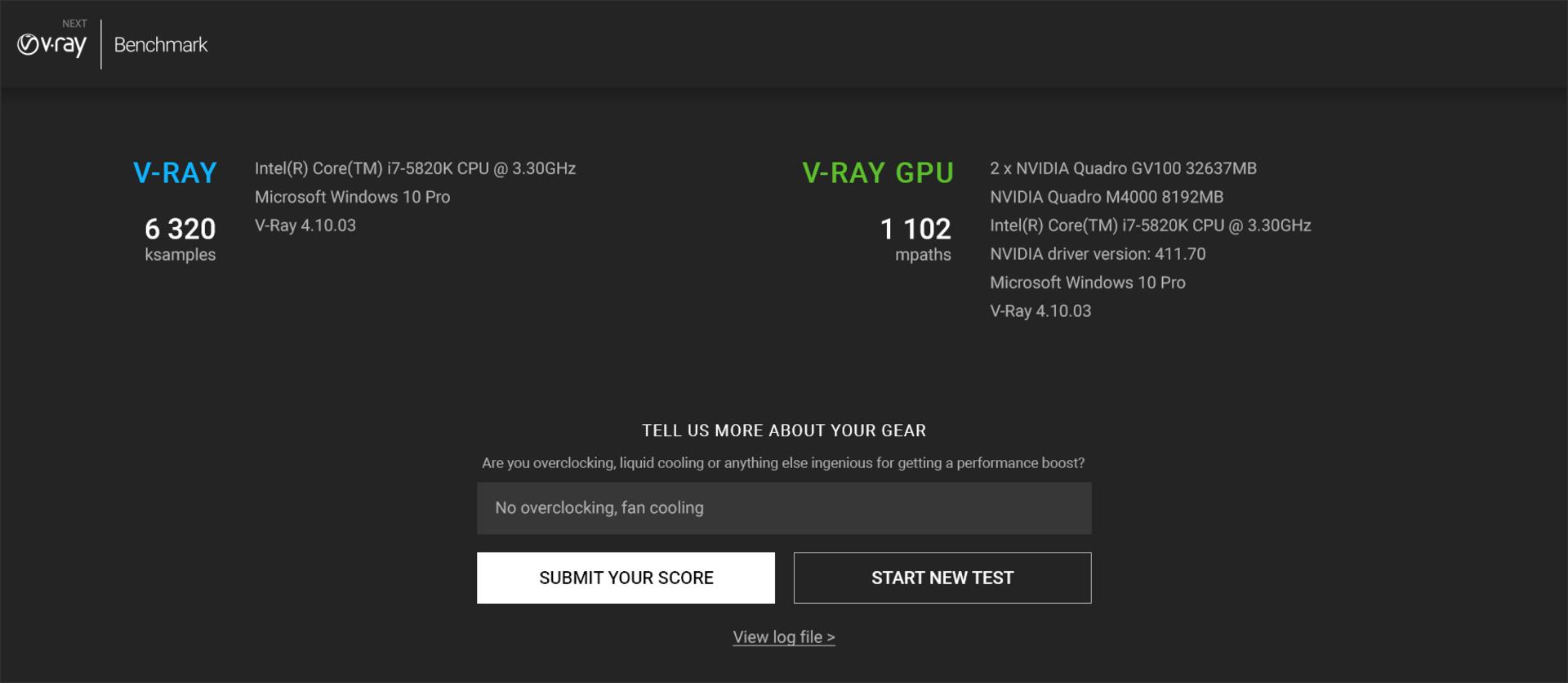 Udostępnij wynik testów w serwisie aby porównać wyniki z innymi użytkownikami. (źródło: Chaos Group)