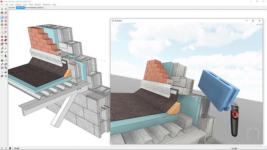 Narzędzia wykorzystujące rozwiązania SketchUp i HTC VIVE umożliwiają nie tylko podgląd lecz również edycję projektów architektonicznych (źródło: VR Sketch)