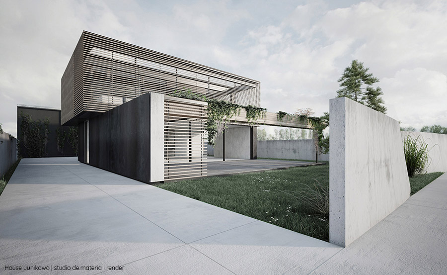 Wizualizacja projektu domu (źródło: Studio de.materia)