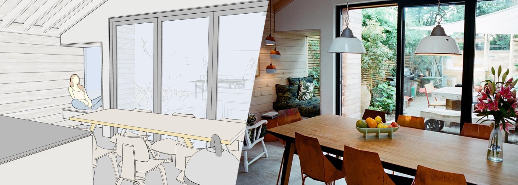Model SketchUp i zdjęcie ukończonego projektu (Toma Kaneko Design).