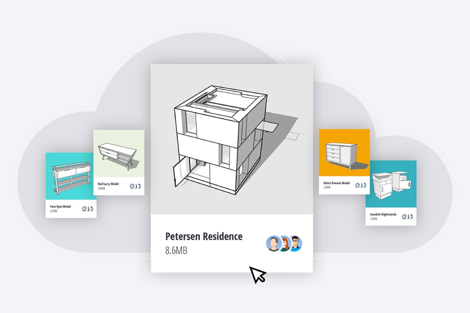 Subskrypcja SketchUp zapewnia nielimitowaną przestrzeń w chmurze Trimble Connect.
