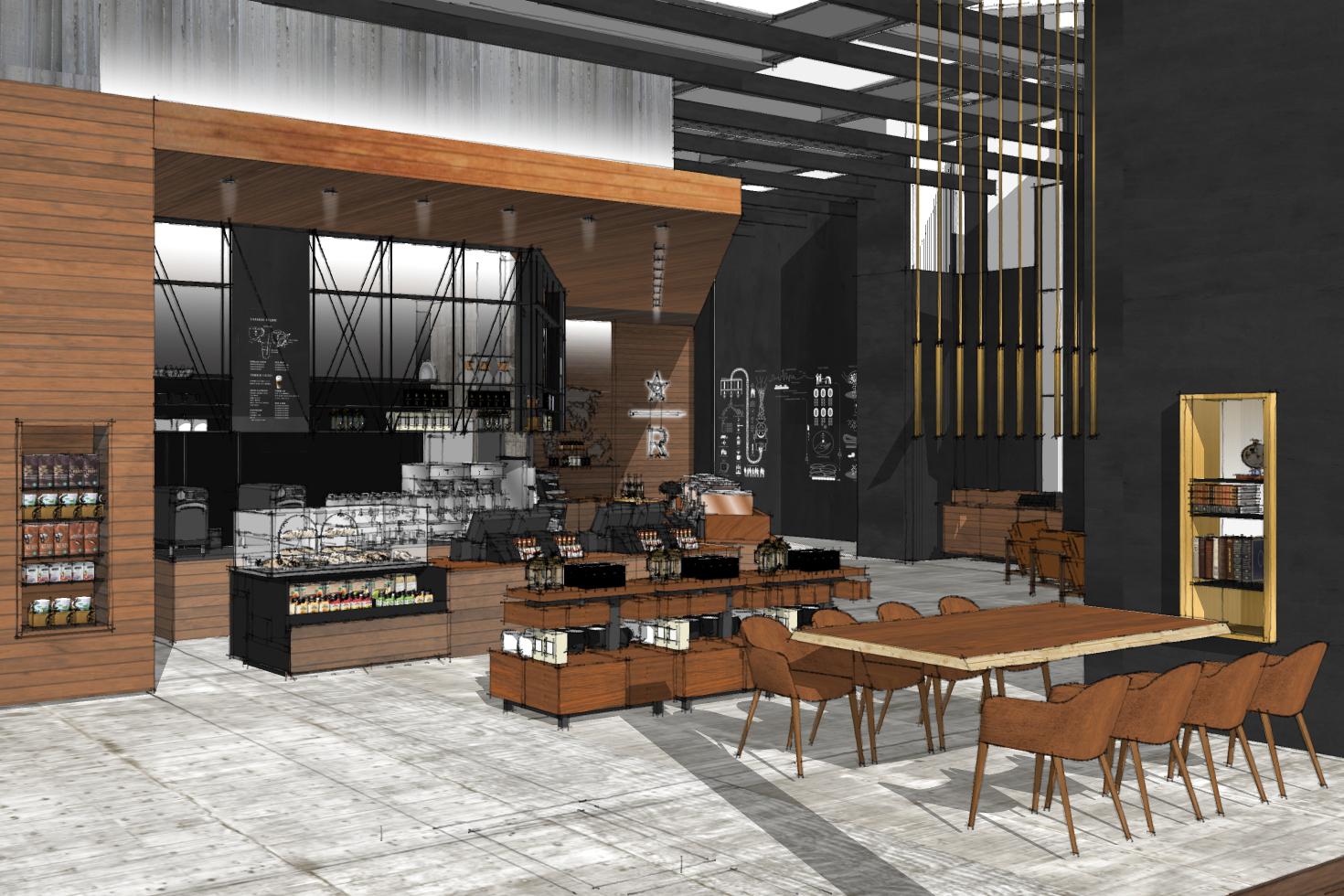 Projekt SketchUp kawiarni Starbucks
