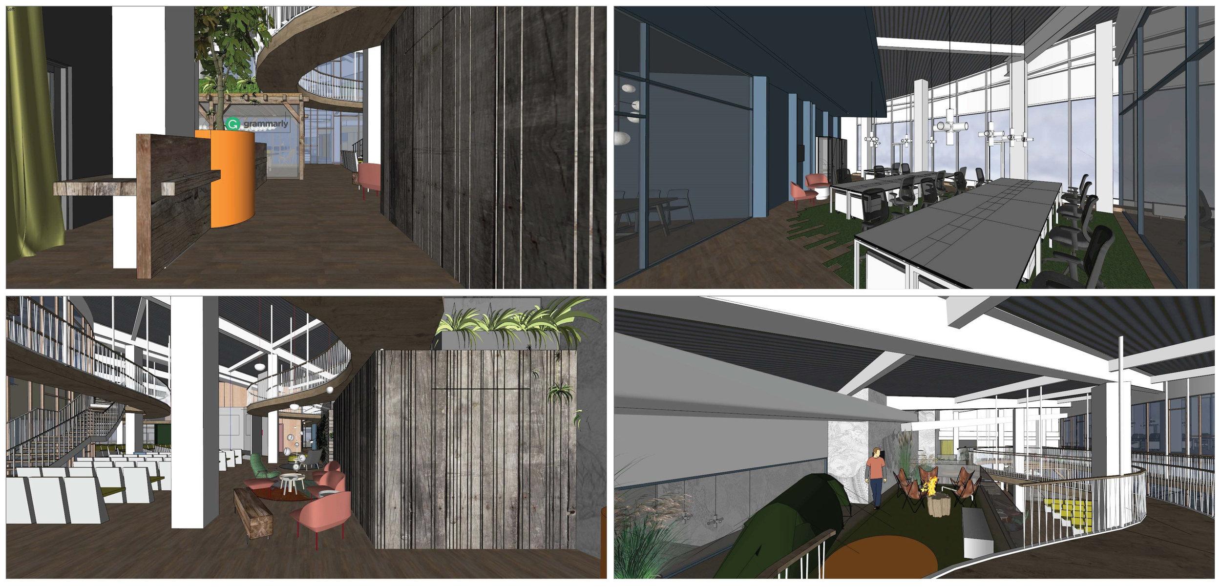 Projekt SketchUp biura Grammarly.
