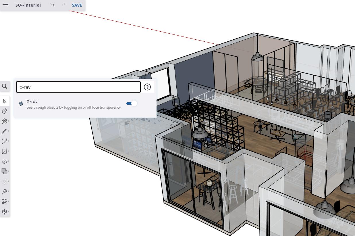 Wyszukiwanie narzędzi i skróty klawiszowe znacznie przyspieszają pracę w SketchUp Free.